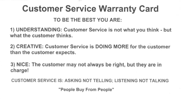 Customer Service Warranty Card from Hal Becker, Sales Trainer, Sales Speaker, Sales Management and Customer Service Trainer