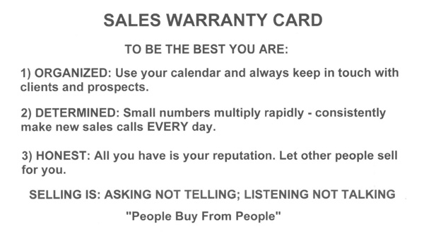 Sales Warranty Card from Hal Becker, Sales Trainer, Sales Speaker, Sales Management and Customer Service Trainer